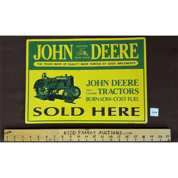 """JOHN DEERE SST EMBOSED SIGN - REPRO - 11"""" X 15.5"""""""