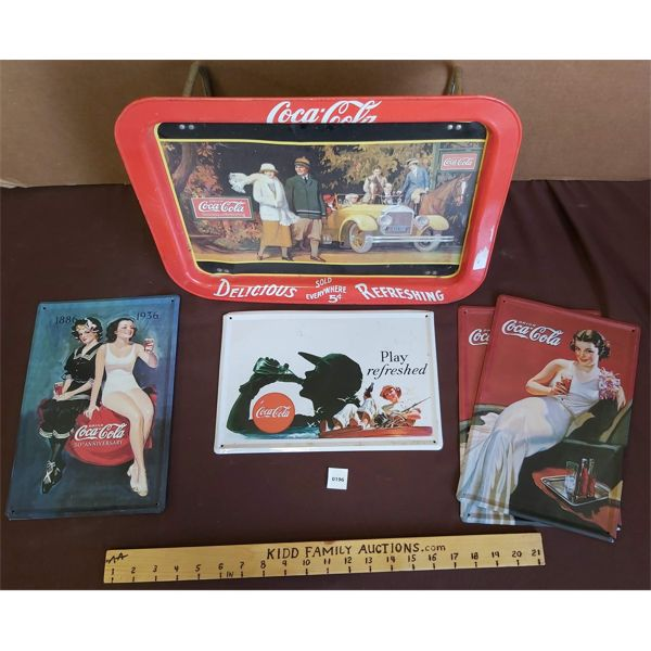 LOT OF 5 - COCA-COLA REPRO SIGNS & BED TRAY