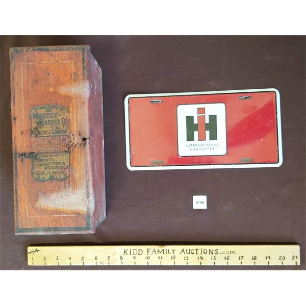 LOT OF 2 - MASSEY HARRIS ANTIQUE WOODEN TOOL BOX & IH LICENCE PLATE