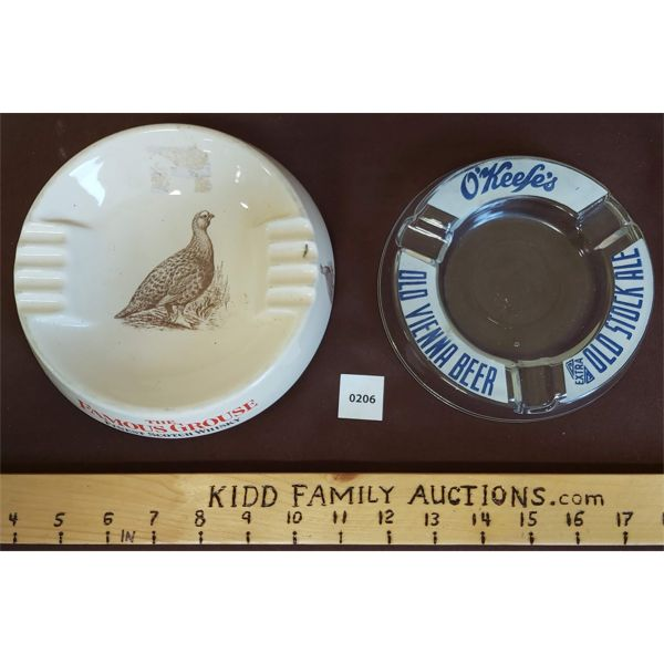 LOT OF 2 ASHTRAYS - O'KEEFE'S & FAMOUS GROUSE