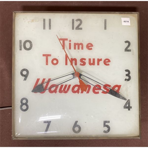 WAWANESA INSURANCE ADVERTISING CLOCK