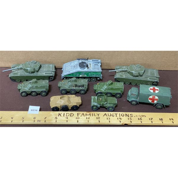 LOT OF 9 MILITARY DINKY TOYS