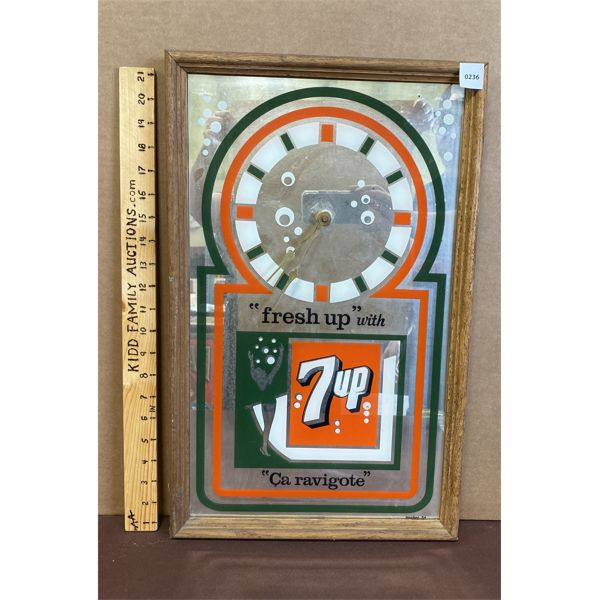 """7-UP MIRRORED CLOCK - 13"""" X 21.5"""" - WORKING CONDITION UNKNOWN"""