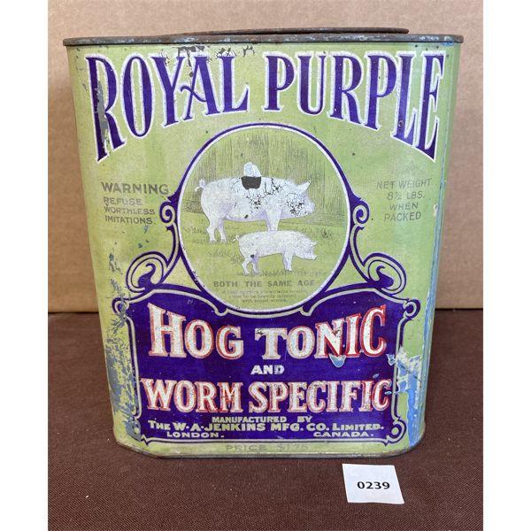 """ROYAL PURPLE HOG TONIC TIN - 8 1/2 LBS - 8.5"""" TALL"""