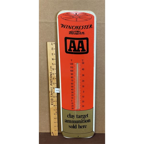 """WINCHESTER THERMOMETER - 1999 - GLASS INTACT - 26.5"""" TALL"""