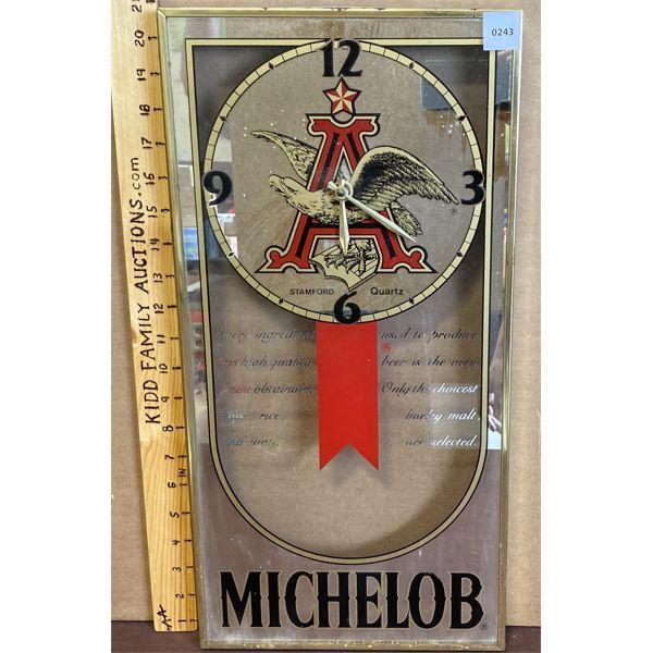 MICHELOB BAR CLOCK - UNKNOWN WORKING CONDITION