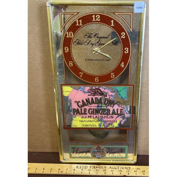 "CANADA DRY PALE GINGER ALE BAR CLOCK W/ PENDULUM - 20.5"""