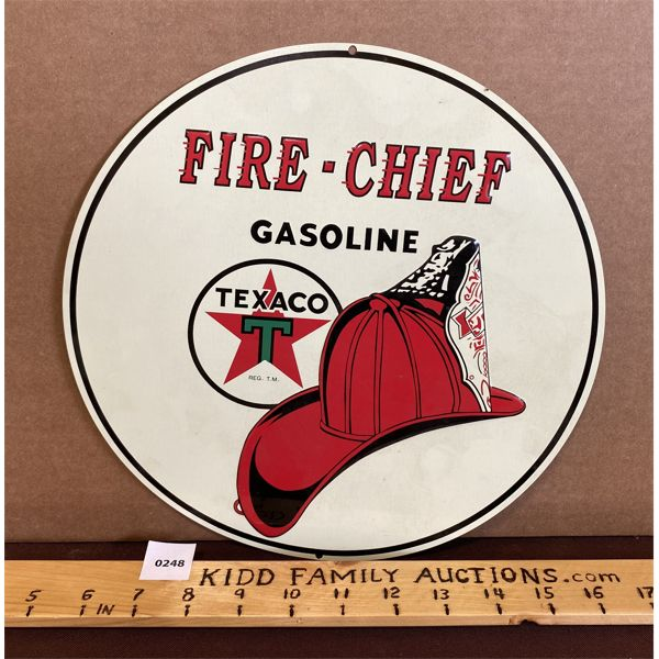 """TEXACO FIRE-CHIEF SST SIGN - 10.5"""" REPRO"""