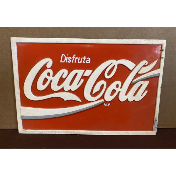 """LOT OF 2 - COCA-COLA CLOCK - AS NEW & EMBOSED """"SPANISH"""" DBL SIDED PLASTIC SIGN"""