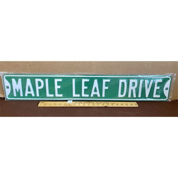"""MAPLE LEAF DRIVE EMBOSED ROAD SIGN - 36"""""""