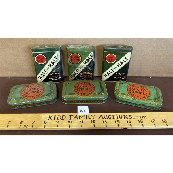 LOT OF 6 - TOBACCO TINS - LUCKY STRIKE