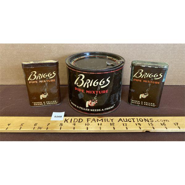 LOT OF 3 - TOBACCO TINS - BRIGGS