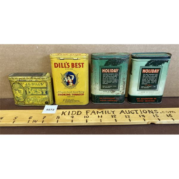 LOT 0F 4 - POCKET TOBACCO TINS - DILL'S, BEST, HOLIDAY