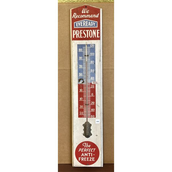 """EVEREADY PRESTONE THERMOMETER - PAINTED WOOD - 40"""""""