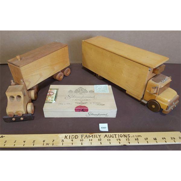 LOT OF 2 WOODEN TOY TRUCKS & SCHIMMELPENNINCK WOODEN BOX