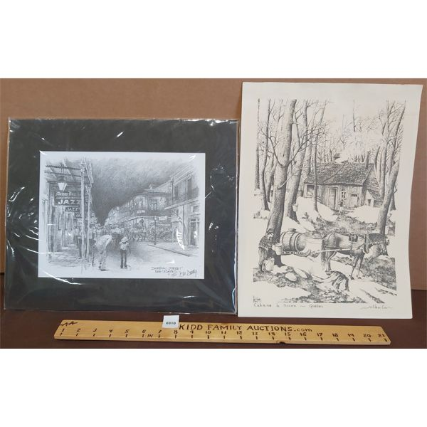 TWO UNFRAMED PRINTS WITH ARTIST SIGNATURES IN BOTTOM RIGHT