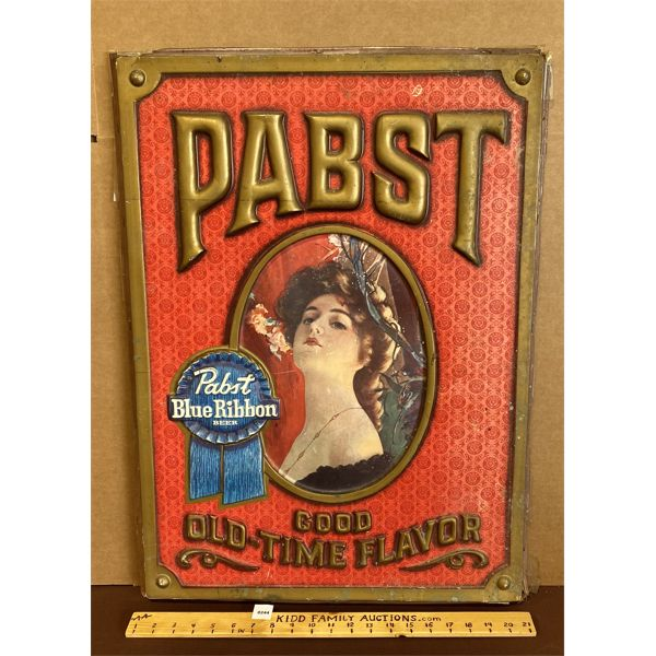 PABST BLUE RIBBON EMBOSED PLASTIC SIGN