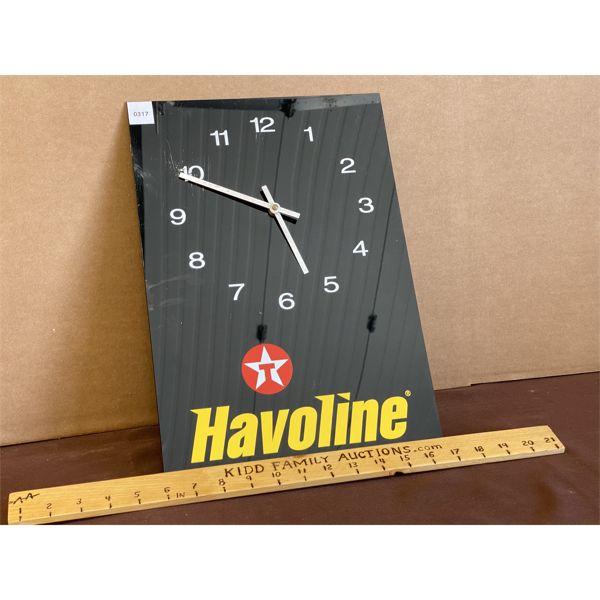 TEXACO HAVOLINE PLASTIC CLOCK