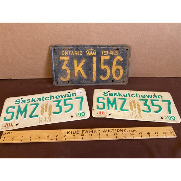 LOT OF 3 - LICENCE PLATES - SK 1990 PAIR & 1943 ON