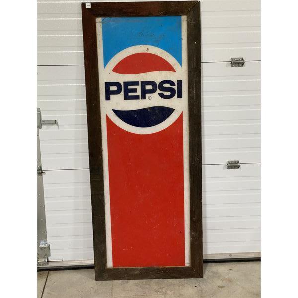 "FRAMED ACRYLIC PEPSI POP MACHINE FACE - 25"" X 63"""
