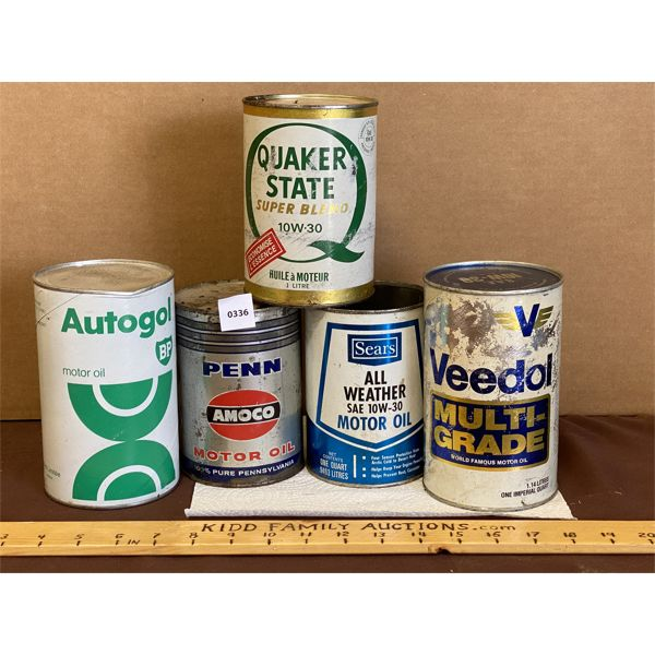 LOT OF 5 - MISC OIL CAN - SOME CONTENTS