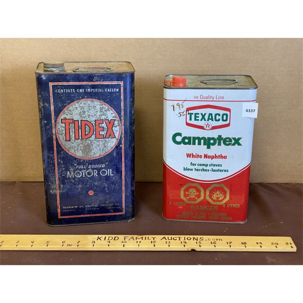 LOT OF 2 - 1 GAL CANS - TIDEX & TEXACO
