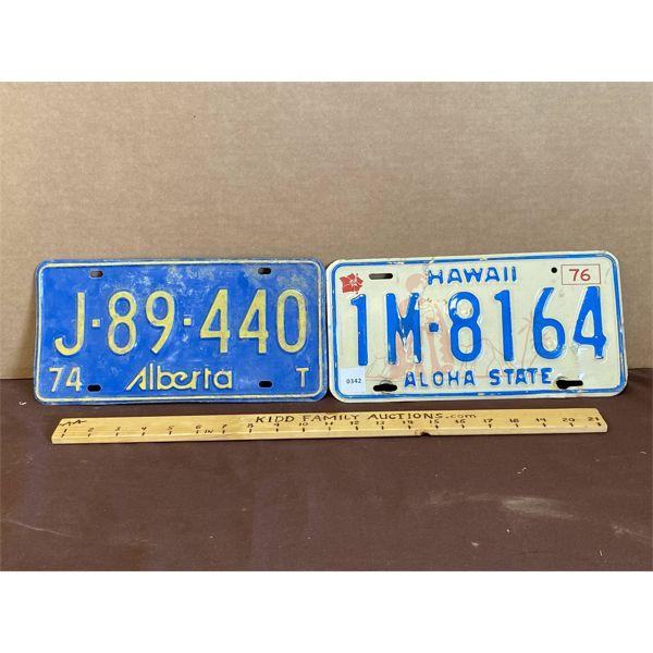 LOT OF 2 - LICENCE PLATES - '74 ALBERTA & '76 HAWAII