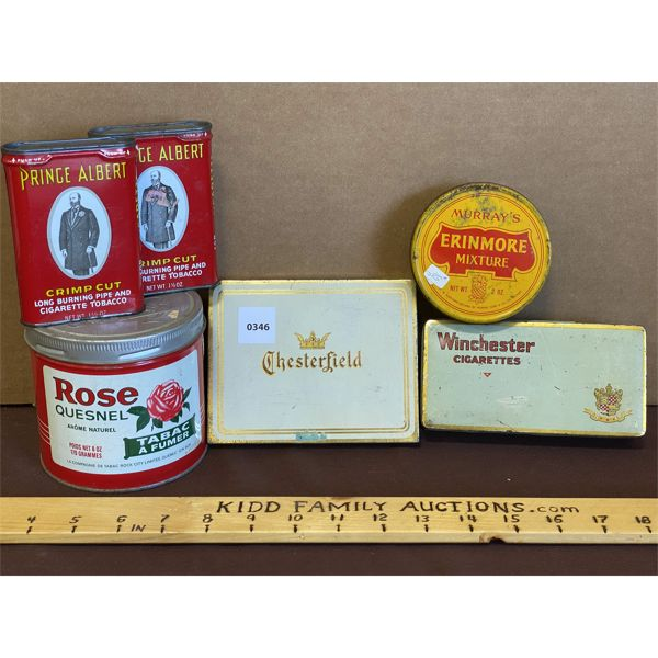 LOT OF 6 - TOBACCO TINS - PRINCE ALBERT, ROSE, MURRAY'S, CHESTERFIELD, & WINCHESTER