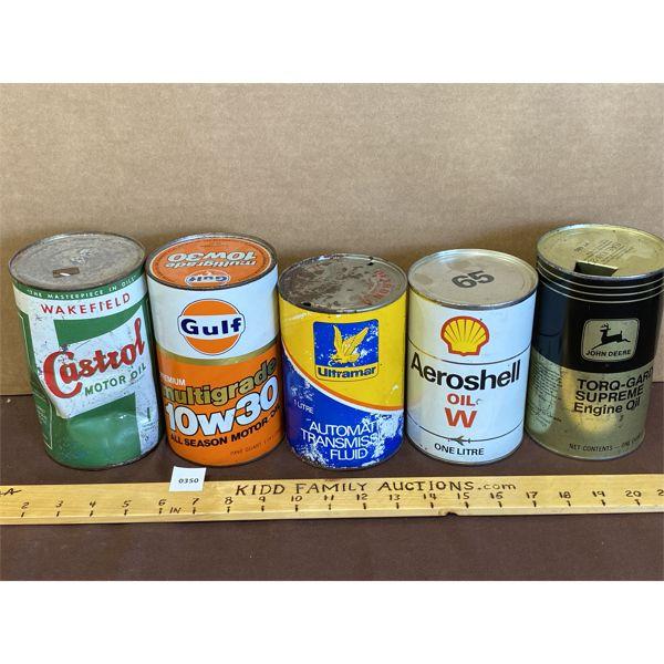LOT OF 5 - 1 QT OIL TINS - CASTROL, GULF, SHELL, JD