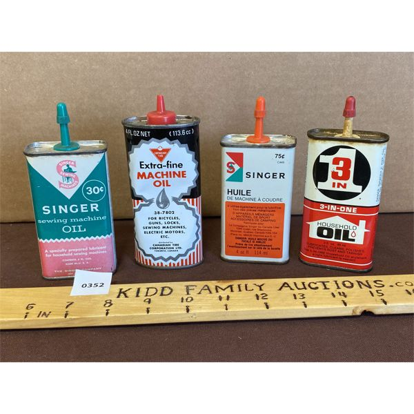 LOT OF 4 - MINI OILERS - SINGER, 3 IN ONE, CANADIAN TIRE