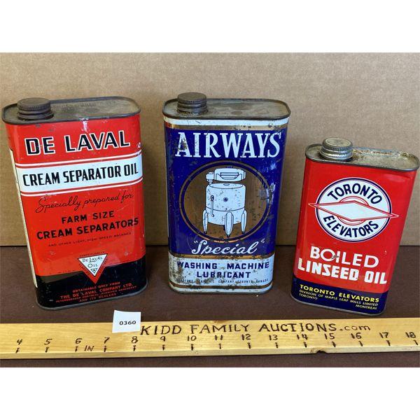 LOT OF 3 COLLECTIBLE TINS - DE LAVAL, AIRWAYS, TORONTO ELEVATORS
