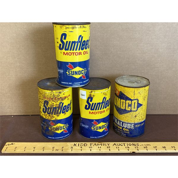 LOT OF 4 - SUNOCO OIL CANS - SOME CONTENTS