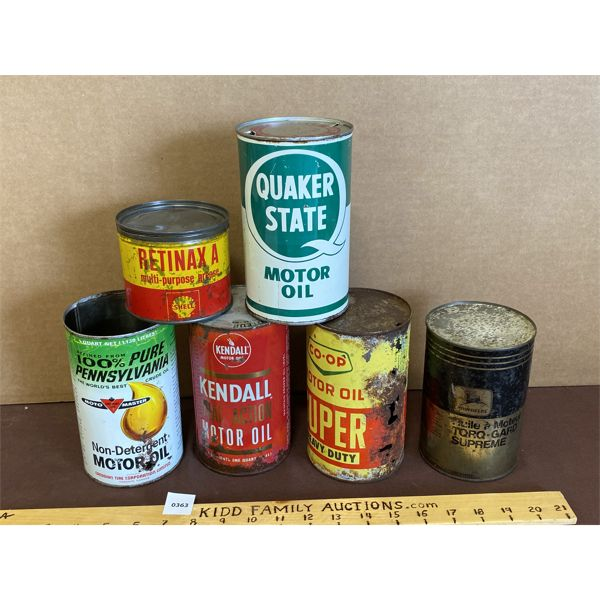 LOT OF 6 - COLLECTIBLE CANS - MOTO MASTER, SHELL, KENDALL, CO-OP, JD