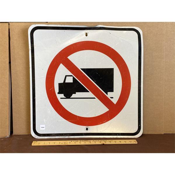 """NO TRUCKS ROAD SIGN - 23"""" SQ"""