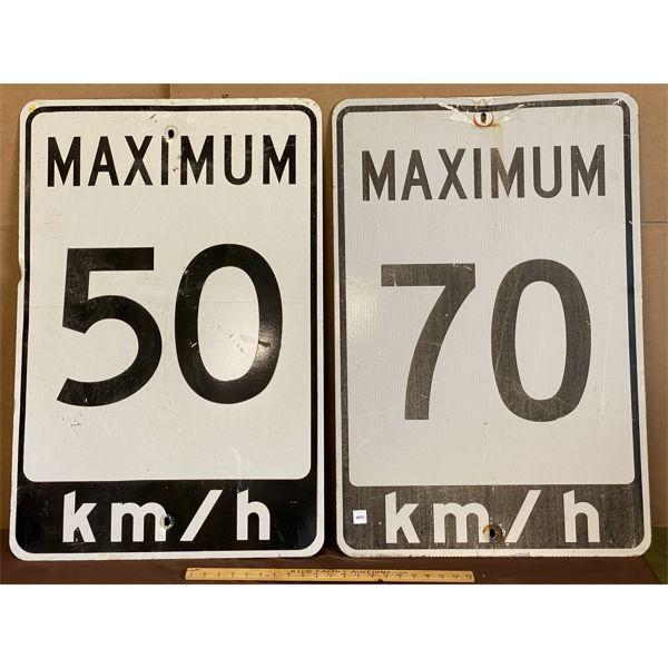 "MAX 50 & 70 KM ROAD SIGNS - 24"" X 36"""