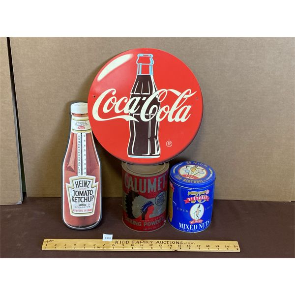 LOT OF 4 COLLECTIBLES - COKE, HEINZ, CALMUT, PLANTERS