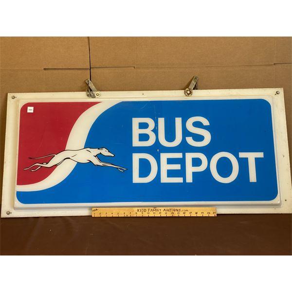"GREYHOUND BUS DEPOT ACRYLIC SIGN - DOUBLE SIGNED HANGING - 23"" X 49"""