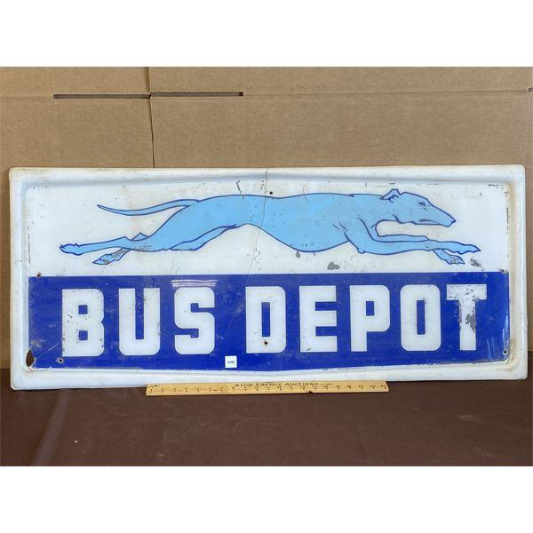 """GREYHOUND BUS DEPOT ACRYLIC SIGN - 19"""" X 44"""""""