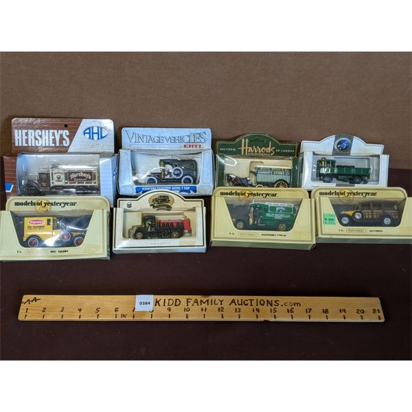 LOT OF 8 - MODELS OF YESTERYEAR, HARRODS, LLEDO, & HERSHEY'S SOUVENIER & COMMEMORATIVE TOY CARS