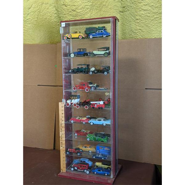 """DISPLAY CASE OF COMMEMORATIVE TOY CARS - 16"""" X 44"""" X 7"""" - *NOTE* SOME DAMAGE"""