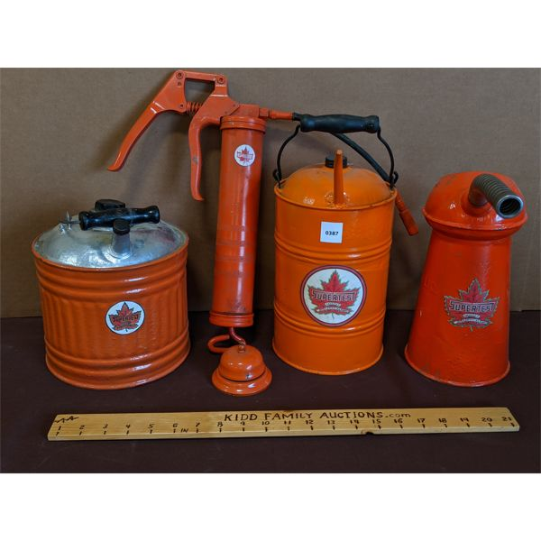 LOT OF 5 - HOME MADE SUPERTEST BRANDED OIL & GAS CANS