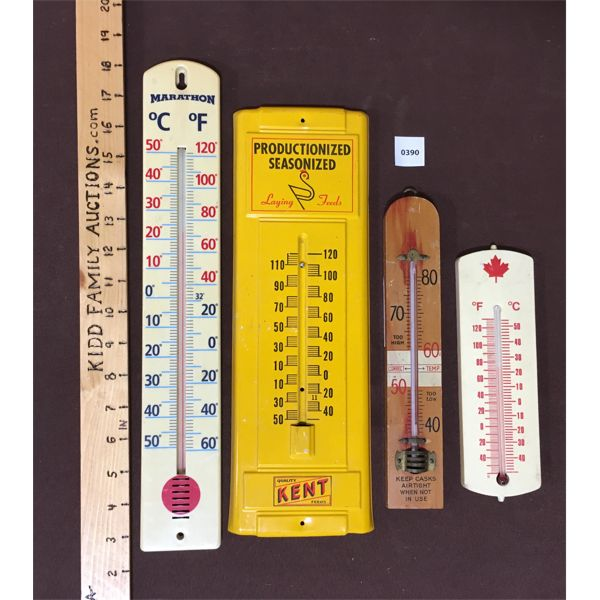 LOT OF 4 - MISC ADVERTISING THERMOMETERS