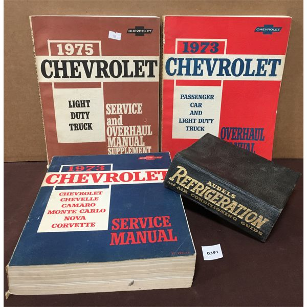 LOT OF 4 - LOT OF 4 SERVICE MANUALS - AUDELS REFRIGERATION & CHEV 1970's