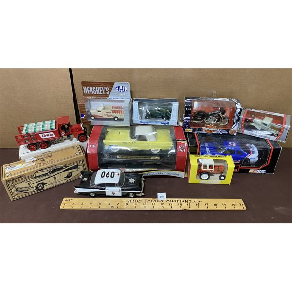 QTY OF DIE-CAST VEHICLES - HARLEY-DAVISON, NASCAR, ERTL, ETC
