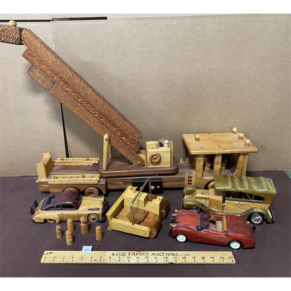 QTY OF WOODEN, HAND CRAFTED TOY VEHICLES - SEE ALL IMAGES