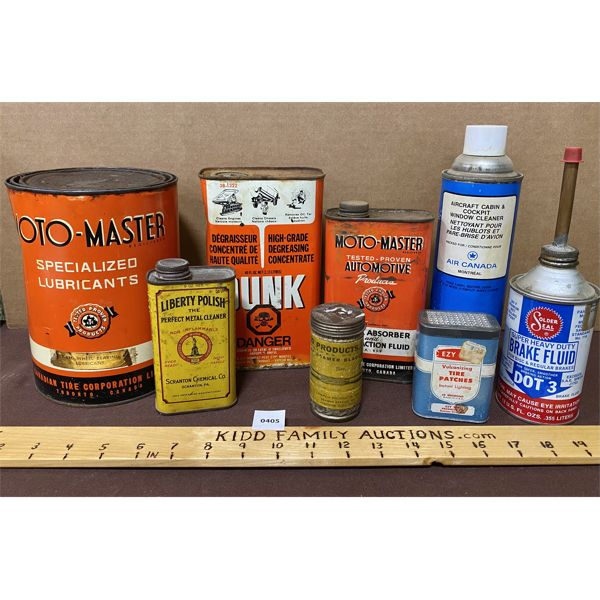 JOB LOT OF OIL / GREASE / TIRE PATCH CANS - MOTO-MASTER, AIR CANADA, DUNK, ETC