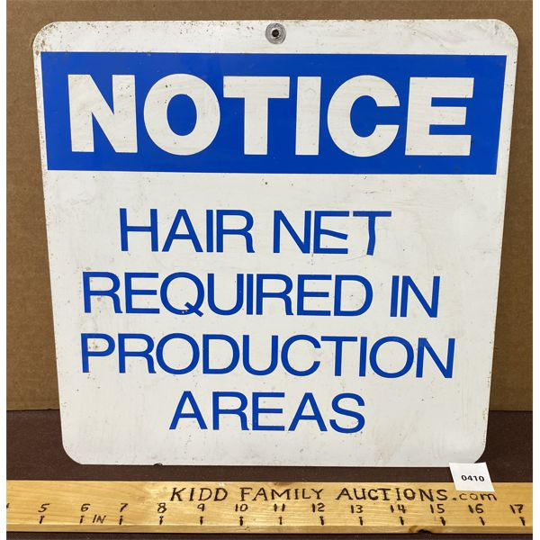 """HAIR NET REQUIRED SS METAL SIGN - 12"""" SQ"""