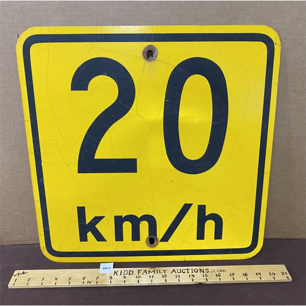 20 KM ROAD SIGN