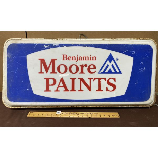 "BENJAMIN MOORE PAINT ILLUMINATING ACRYLIC SIGN W / METAL FRAME - 16"" X 36"""