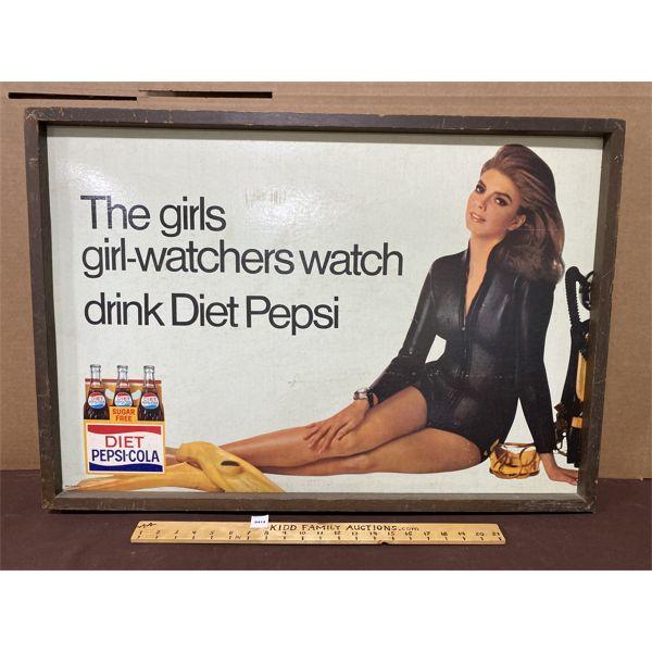 "DIET PEPSI-COLA FRAMED CARDBOARD AD - 24"" X 33"""